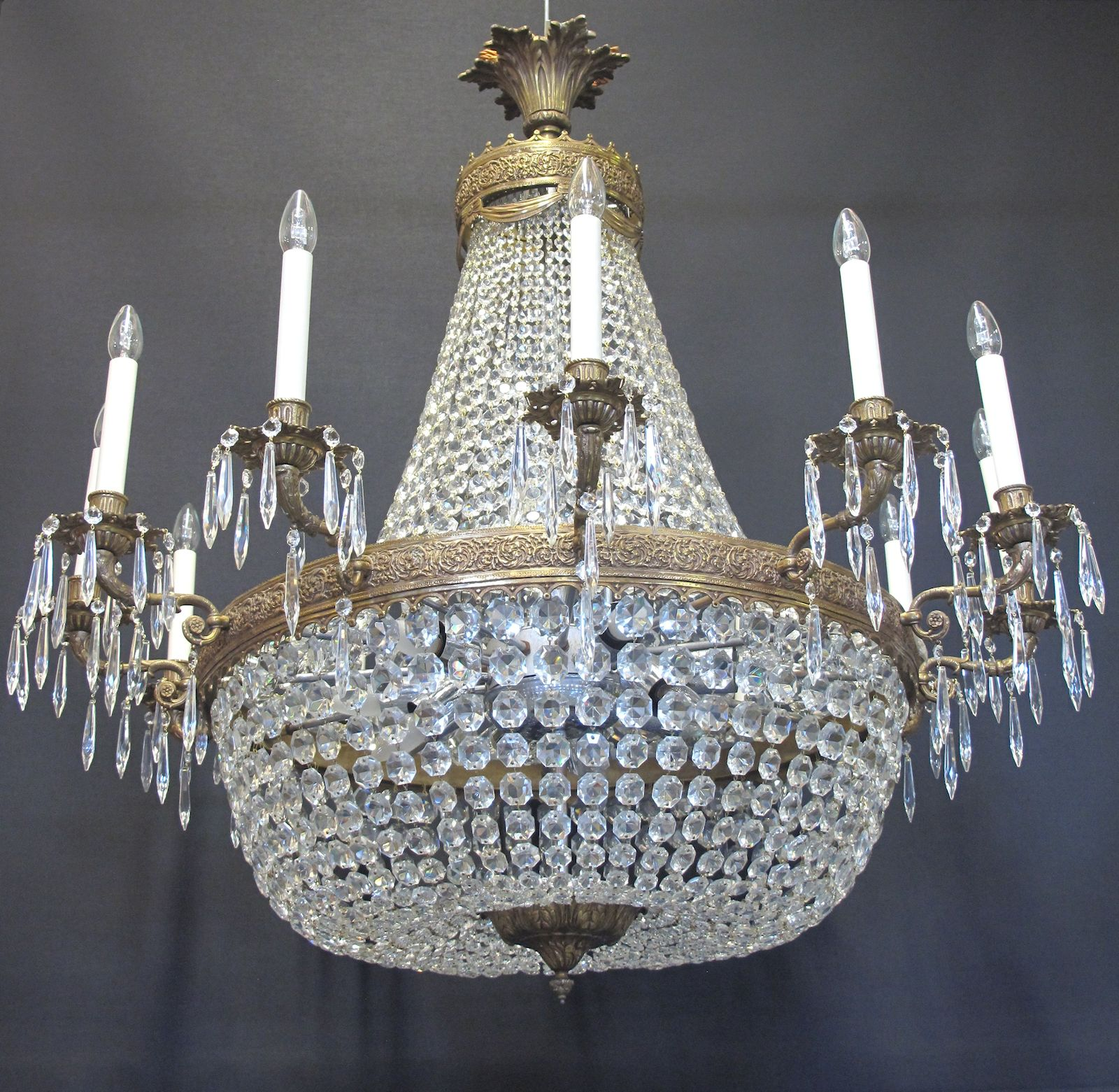 G p cohn antique chandeliers repairs restoration 12 arm tent and bag chandelier ca 1920 aloadofball Image collections