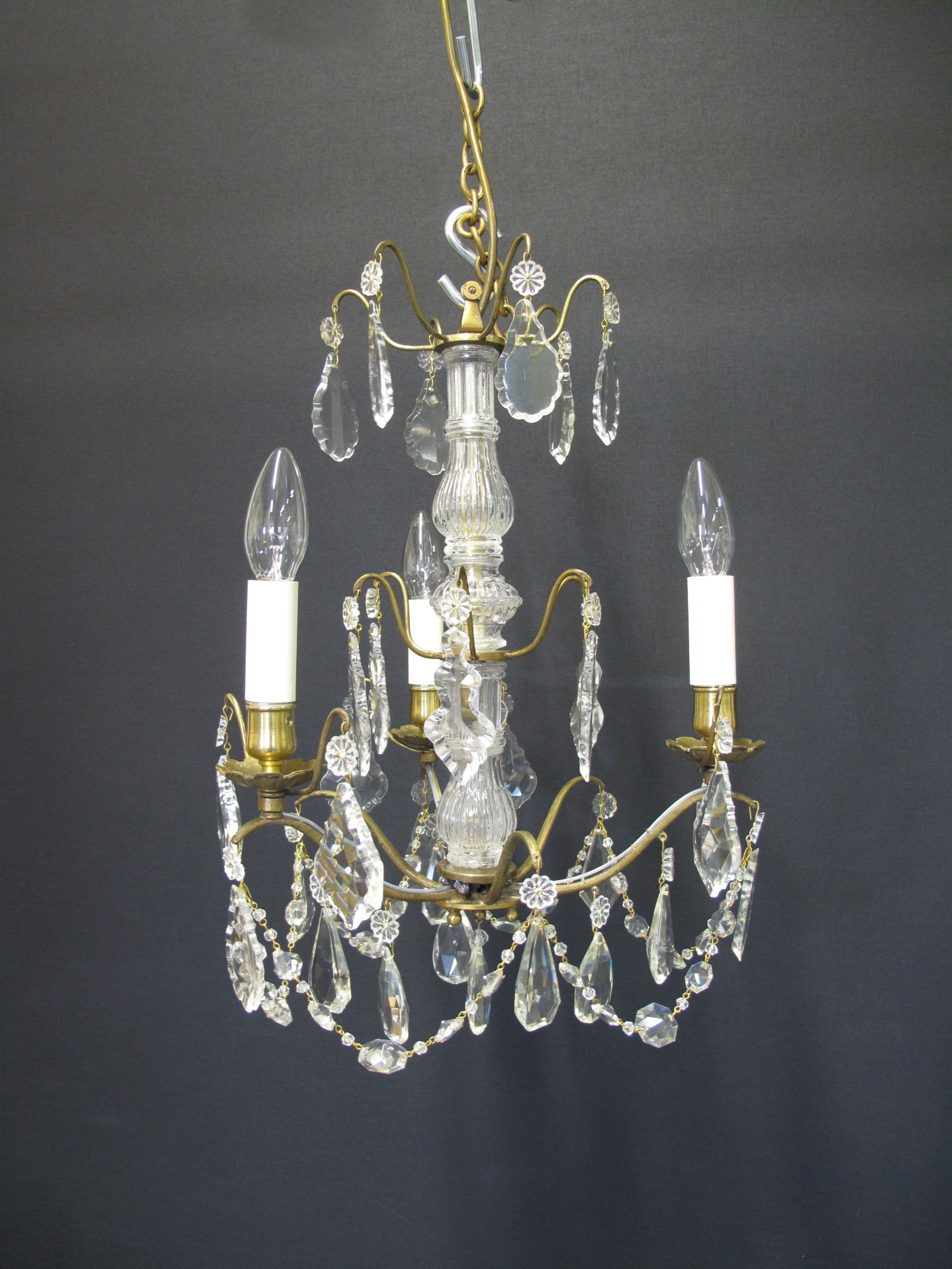 G p cohn antique chandeliers repairs restoration 3 arm french brass chandelier ca 1910 aloadofball Image collections