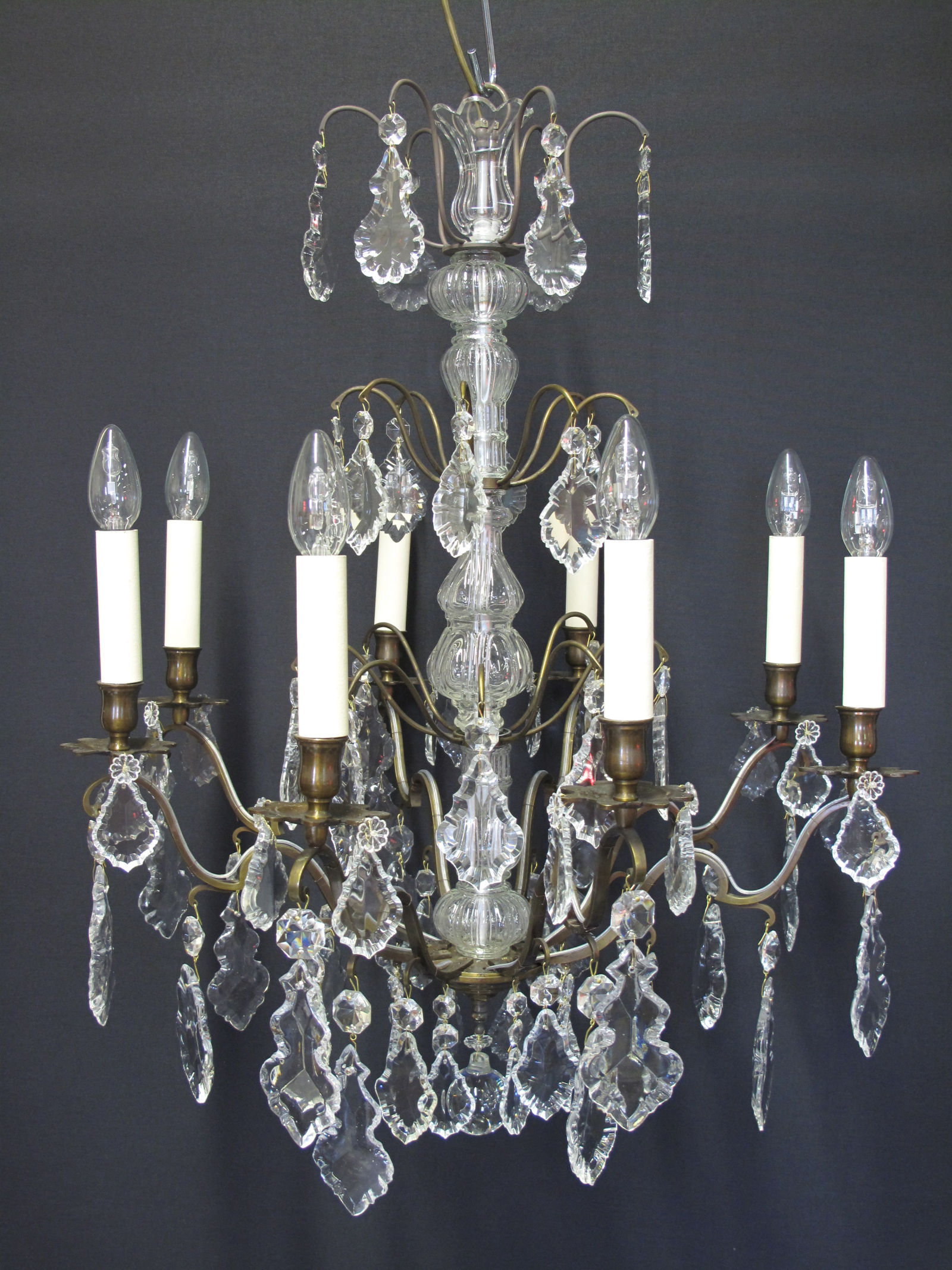 G p cohn antique chandeliers repairs restoration 8 arm bronzed french chandelier ca 1920 aloadofball Image collections