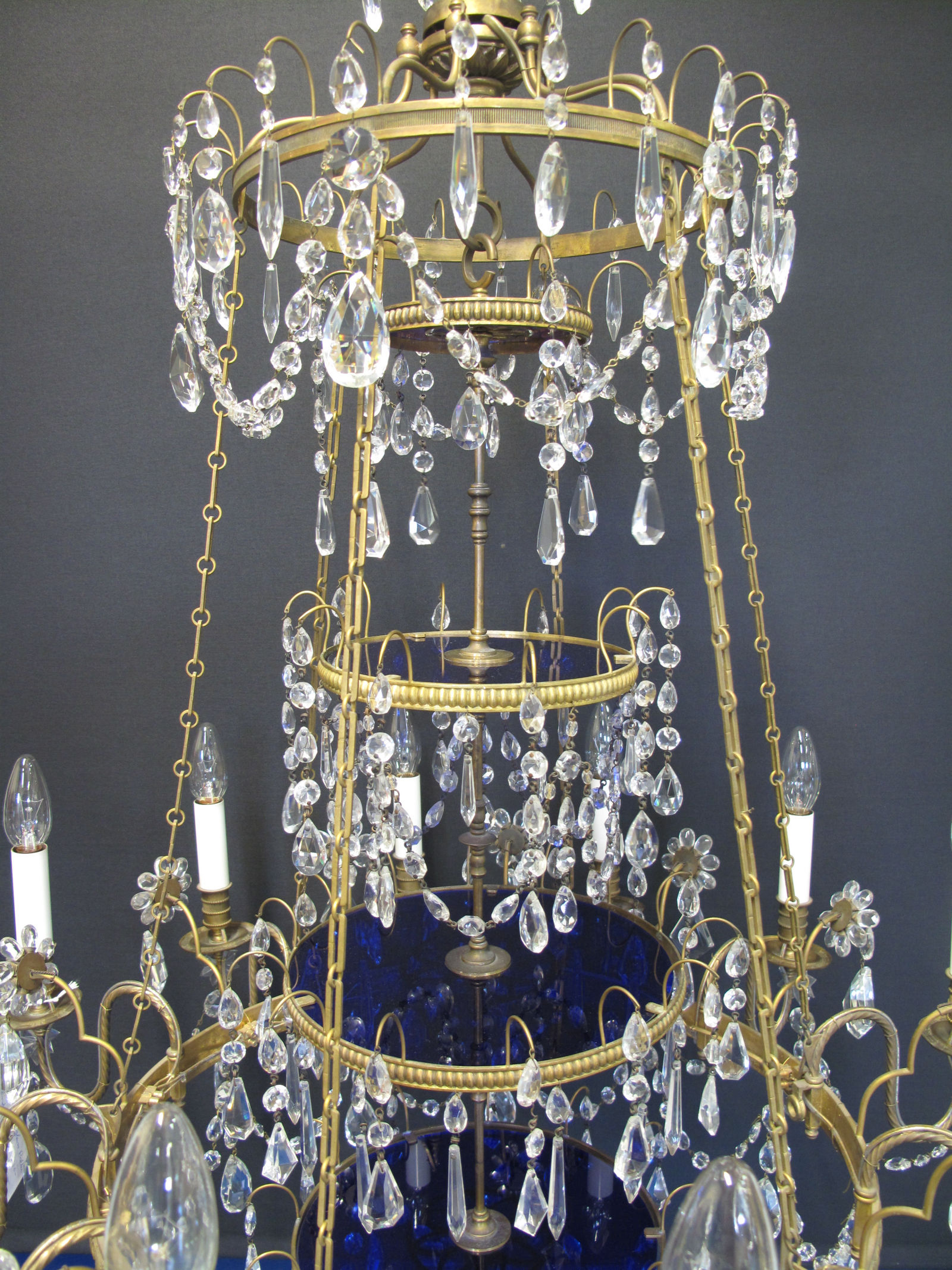 G p cohn antique chandeliers repairs restoration 12 arm gilt and crystal chandelier ca 1900 arubaitofo Image collections