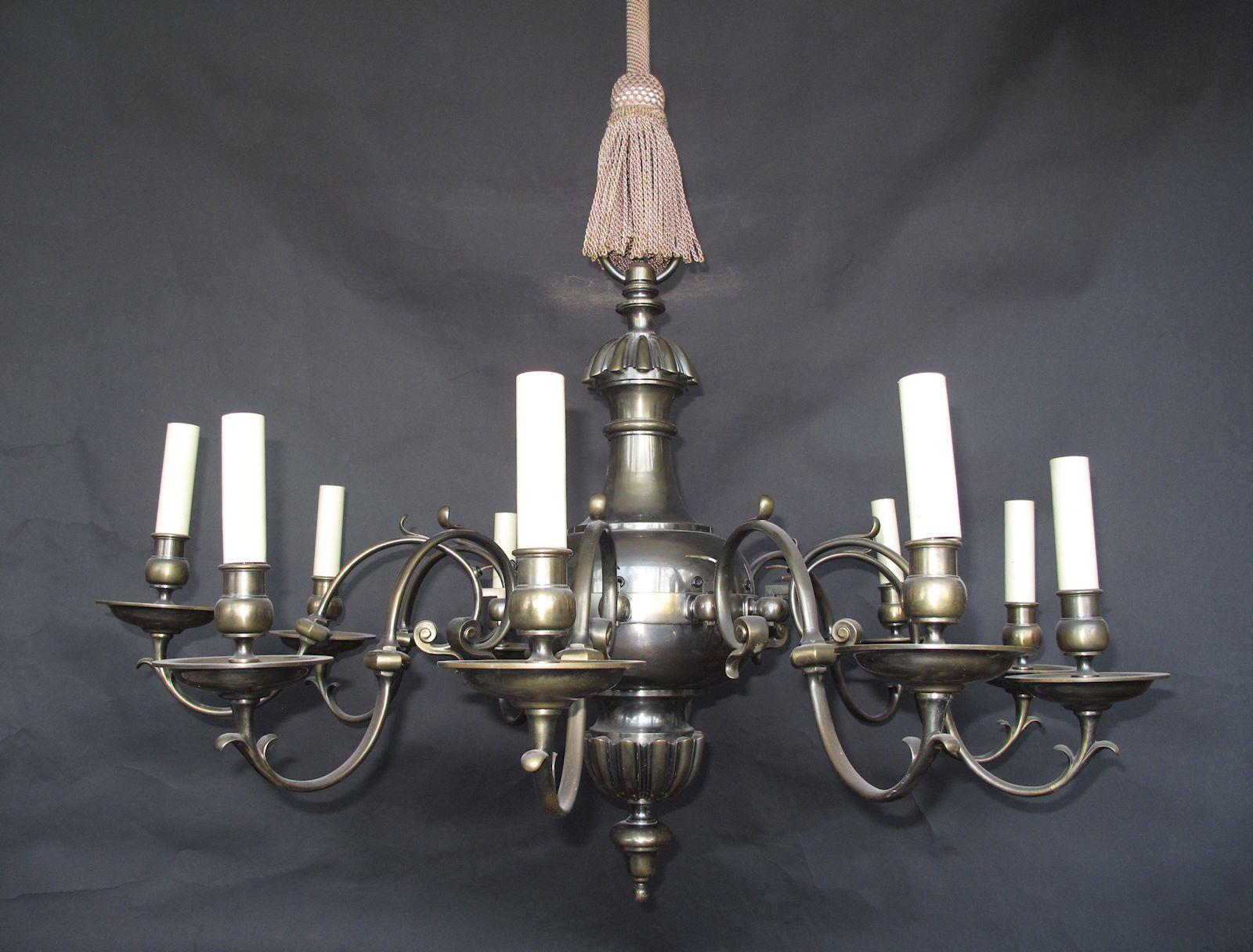 G p cohn antique chandeliers repairs restoration 10 arm georgian style english brass chandelier ca 1920 arubaitofo Gallery